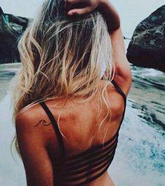 Wave Tattoo on Back Shoulder
