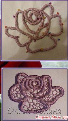 Жакетик с розами-ирландское вязание - Вязание Крючком. Блог Настика Crochet Tunic Pattern, Irish Crochet Patterns, Crochet Snowflake Pattern, Crochet Lace Edging, Freeform Crochet, Crochet Diagram, Thread Crochet, Filet Crochet, Crochet Doilies