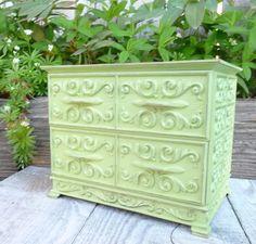 Apple Green SHABBY CHIC Jewelry Box - Vintage Plastic Jewelry Box - Dresser by HuckleberryVntg on Etsy https://www.etsy.com/listing/186074467/apple-green-shabby-chic-jewelry-box