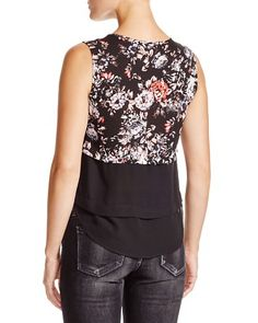 AQUA Rebecca Floral-Print Layered-Effect Top | Bloomingdale's