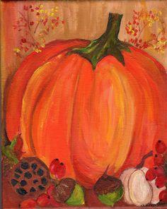 Pumpkin Fall painting, acrylic painting canvas art on stretched canvas,  Halloween original art, Autumn home decor 8 x 10, Farmhouse decor by SharonFosterArt on Etsy