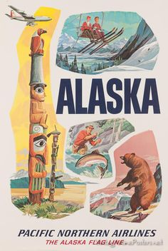 Pan Am to Alaska Alaskan United States of America Travel Advertisement Poster