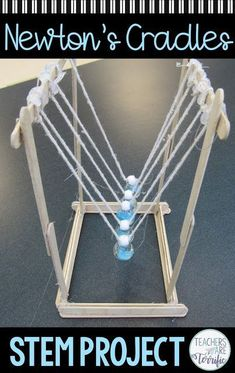 STEM Challenge Newton's Cradle - featuring Newton's Law This is the best STEM Challenge for your upper elementary students. Check this post full of tips about trying the resource- Build a Newton's Cradle! Stem Projects, Science Fair Projects, Science Experiments Kids, Science For Kids, Middle School Boys, Middle School Science, High School, Activities For Teens, Science Activities