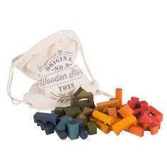 100 Wooden Blocks in a Bag Rainbow