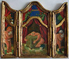 """Antonio BONILLA : """"La Avaricia"""" (de la serie de los 7 pecados capitales) ; fecha : 14 Mayo 1989 ; tríptico abierto : 24cm x 26cm ; colección MDAA (adquirido en 1989 del artista)"""