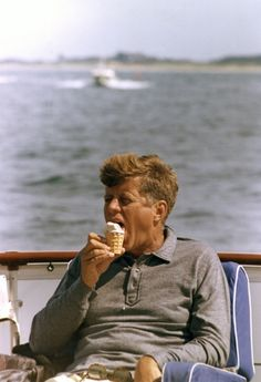 "31 August 1963  President Kennedy aboard the ""Honey Fitz"", off Hyannis Port, Massachusetts. Photograph by Cecil Stoughton, White House, in the John F. Kennedy Presidential Library and Museum, Boston."