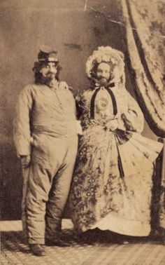C 1865 Zany CDV Civil War Confederate Satire Soldier w Cross Dresser Man Lady