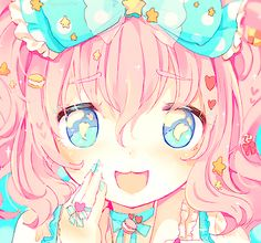 .Colorful anime girl with bright pink hair and blue eyes, dress, and bow~