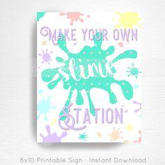 Slime Birthday Party Printable Slime Station Sign YOU Print