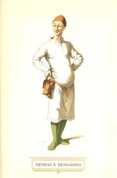 Ai primi deI '500 si incontra a Padova nel teatro del Ruzante (1502-1542) il personaggio di Domenico, detto familiarmente Menego, tipo di contadino ingenuo e poltrone. La sua figura, soprattutto col diminutivo di Meneghino, andrà col tempo evolvendosi, fino ad assomigliare a quella del toscano Stenterello: lo stesso incontro d'ingenuità e d'astuzia, la stessa inclinazione agli amori facili e alla buona mensa, una analoga popolarità presso i rispettivi pubblici.