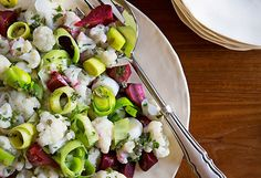 Vegetable Salad by Michael Pollan, oprah.com: A salad of cauliflower, beets and leeks is tossed with salsa verde.  #Salad #Healthy