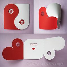 Valentine Collection (Yin Yang Card Gift Box Chipboard Balls Banner) SVG DXF PDF Machine Cuttable Files no items will be shipped Origami Love Cards, Diy Cards, Boyfriend Crafts, Boyfriend Card, Handmade Cards For Boyfriend, Heart Cards, Valentine Day Cards, Valentine Heart, Valentine Ideas