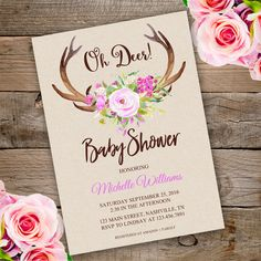 Printable Oh Deer Baby Shower Invitation Template. Invite your guests to your baby shower with our printable invitations.