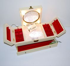 Vintage Jewelry Box with Light and Mirror by CheekyVintageCloset, $84.00