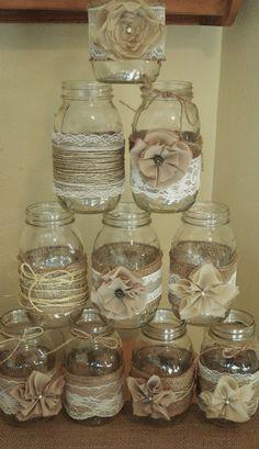 Set of 10 Mason Jar Sleeves, Burlap Wedding Decorations, Rustic Wedding Centerpieces, Burlap and Lace Wedding Jars