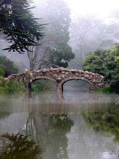 Stone Bridge in the Fog at Golden Gate Park, San Francisco, CA