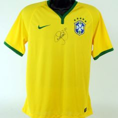 07291e52 2014 Brasil CBF Stadium Men's Medium Jersey, Signed by Neymar Jr