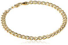 "Klassics 10k Yellow Gold 5.5mm Diamond-Cut Curb Chain Men's Bracelet, 8.5"""