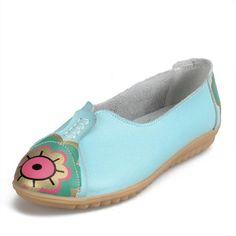 Motif Fleur Oeil Soleil Cuir Souple Glissement Confortable Chaussures Plates R7ACdKH5