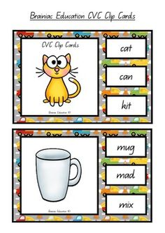 A great independent literacy center activity! Students play by identifying the picture shown then attempt to find the word that corresponds with the picture. Players make their choice by clipping a peg onto the correct answer. TIP: In order to make this activity independent I recommend placing a sticker or marking on the back of each correct answer. This allows students to flip over the card and check if they are correct. Includes - 24 clip cards and instructions for use.