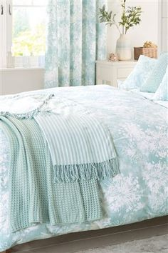 Buy Soft Aqua Wild Allium Print Bed Set from the Next UK online shop