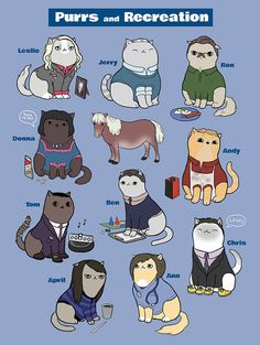 "Andy, Chris, and April are my favorites as cats xD | ""Parks & Rec"" Cats 