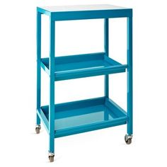 Abigail Rolling Shelf, Turquoise. Great for office supplies, bar cart, tea/dessert server. Happy color.