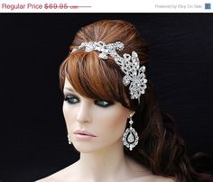 SALE Swarovski Rhinestone Crystal Headband , Bridal Headpiece , Bridal Hair Accessories , Wedding Headband , Bridal Headband H004