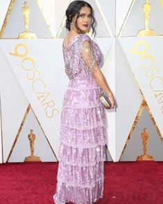 DESIGNER INSPO!  SALMA HAYEK @salmahayek STUNS IN A WHITE CUSTOM GUCCI @gucci GOWN FOR THE OSCARS RED CARPET