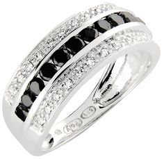 Paletti Jewelryn K100-204 on valkokultainen timanttisormus mustilla timanteilla.