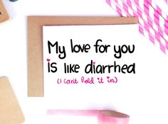 Funny Valentine Card Dirty Valentine Card Cute by LailaMeDesigns Love Poems For Boyfriend, Cards For Boyfriend, Valentines Gifts For Boyfriend, Boyfriend Gifts, Valentines Day Poems, Funny Valentines Cards, Funny Cards, Valentines Diy, Naughty Valentines