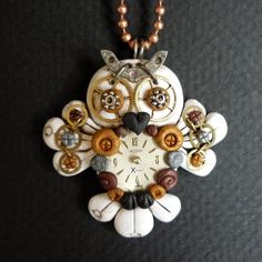 Steampunk+Hooty+Owl+White+Necklace+Polymer+Clay+by+Freeheart1,+$32.00