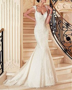Dressylady Modest Straps V Neck Appliques Mermaid Wedding Dress Open Back Bridal Gown at Amazon Women's Clothing store: