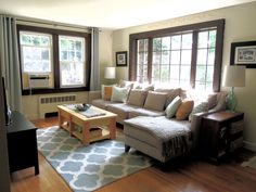 Neutral/Blue Living Room - VERY similar to what I'm going for. Same rug even!