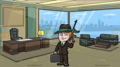 A Mafia Leader With A Gun And Briefcase Of Money At An Executive Office With A View Of The City:   A man with orange hair wearing a white collared dress shirt green necktie dark gray hat with a grin trimming black coat pants and shoes left hand holding up a black rifle as right hand carries a black briefcase lips sealed in a smirk. Set in inside an executive office with green and dark beige walls glass windows overlooking the city lighted panel ceiling black chair and sofa brown desk and…