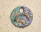 Handmade Dragonfly Pendant Brass Lavender Sage Green Turquoise Unique Mixed Media Pendant