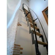 Retractable metal and wood attic ladder  sc 1 st  Pinterest : wooden attic stairs  - Aeropaca.Org