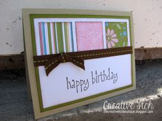 Good way to use scraps of a favorite DSP by Creative Itch: Happy Birthday Card