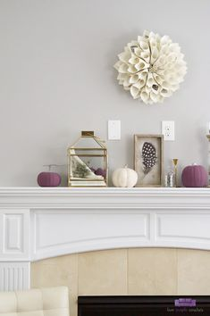 Autumn mantel decor featuring purple and cream. Simple DIY decorations and a mix of neutral with unexpected color give this Fall mantel a beautiful style. Rustic Mantel, Autumn Mantel, Fall Mantel Decorations, Mantle Ideas, Fall Home Decor, Autumn Home, Diy Home Decor, Interior Decorating Tips, Autumn Decorating