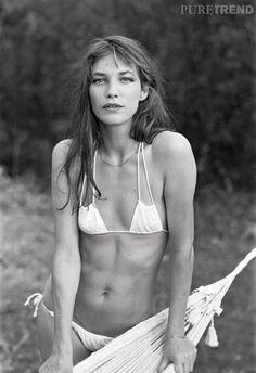 Birkin in a gauzy bikini