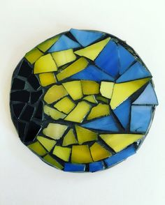 Sunflower Magnet 2inch mosaic yellow black by GreatEscapeMosaics