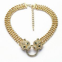 Stylish Green Crystal Leopard Heads Gold Plated Alloy Necklace (1 Pc) – USD $ 17.99 ,, A Very Nice Necklace  indeed goes with so many looks got to have it ..