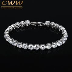 2017 Latest Design White Gold Plated Charm AAA+ Round 0.5 carat CZ Simulated Diamond Tennis Bracelet For Woman CB058