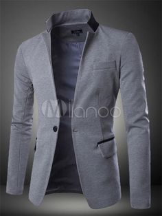 Light Gray Cotton Casual Blazer for Men