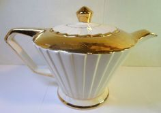 Vintage SADLER ART DECO PLEATED TEAPOT - CREAM & GOLD GILT Ptrn 2131 England  | eBay