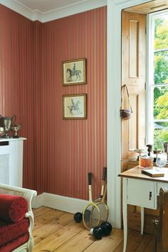Cole & Son wallpaper. Wimbledon.    A Cole & Son classic, this blazer stripe is now offered in six definitive colours, including drawing room reds, yellows and neutrals.