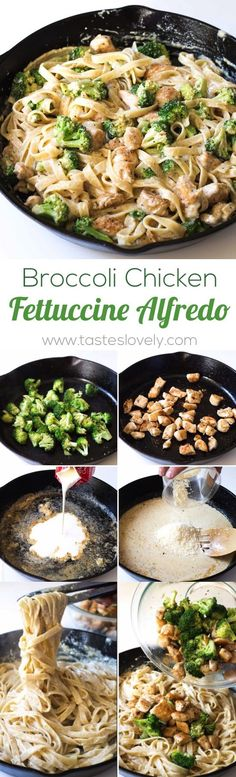 Broccoli chicken fettuccine alfredo recipe + video - a quick 30 minute pasta dinner with a homemade creamy alfredo sauce. I Love Food, Good Food, Yummy Food, Tasty, Cooking Recipes, Healthy Recipes, How To Cook Pasta, Pasta Dishes, Spaghetti