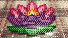 Lotus flower perler bead design, Version 2, Credit: @cjdpixels