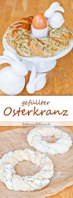 Gefüllter Osterkranz {frisch aus dem ofen} Tolle einfaches, gesundes, herzhaftes Rezept / Rezepte als Vorspeise. Im Frühling. Auch für das Osteressen, Ostern, essen mit der Familie.