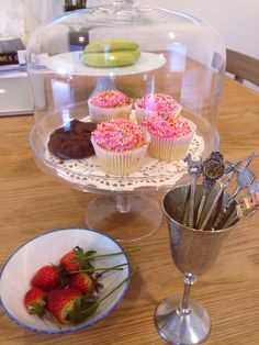 Fresh strawberry and cup cakes for afternoon tea